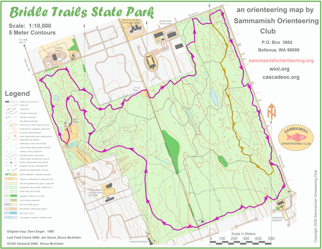 A map of the Bridle Trails course